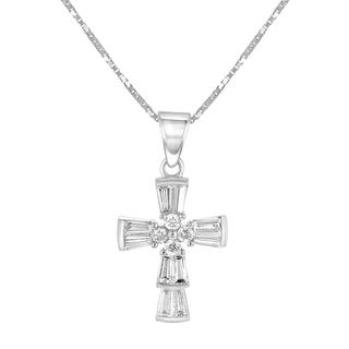 14K White Gold 3/4ct TDW Baguette Diamond Cross Pendant