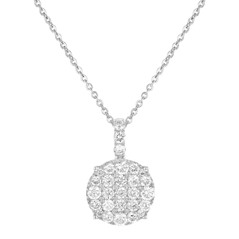 14K White Gold 1 Carat Diamond Cushion Shape Cluster Pendant by Beverly Hills Charm
