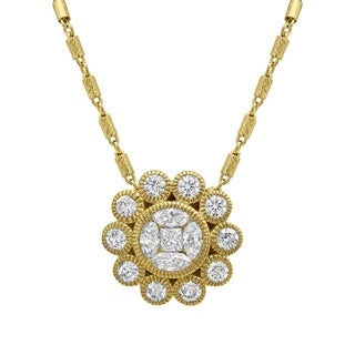 14K Yellow Gold 1ct TDW Floral Vintage Diamond Pendant in 14K Yellow Gold - White