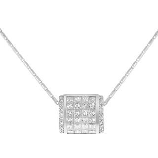 14K White Gold 3/4ct TDW Diamond Invisible Set Square Pendant