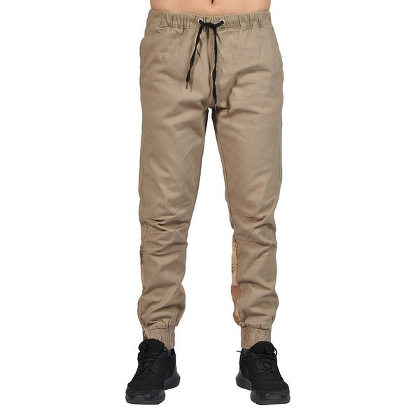 66569b86b Men's Elastic Waistband Drawstring Joggers Zip Up Bottom Closure Khaki  Desert