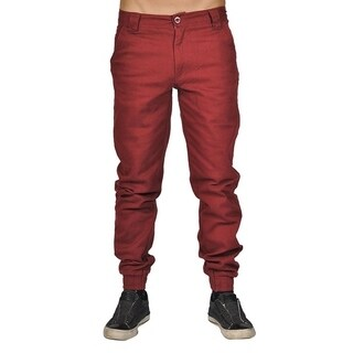Men's Chino Zip Fly Button Jogger Pants Red