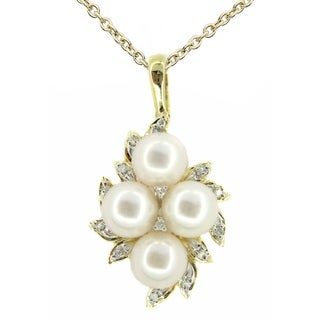 Kabella 14k Gold Cultured Pearl & Diamonds Spray Pendant - White