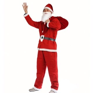 Mr Santa Claus Christmas Costume Outfit Set With Pants, Shirt, Hat & Beard Small
