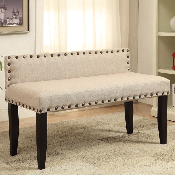 Shop Furniture Of America Simone Flax Upholstered 42 Inch Backed