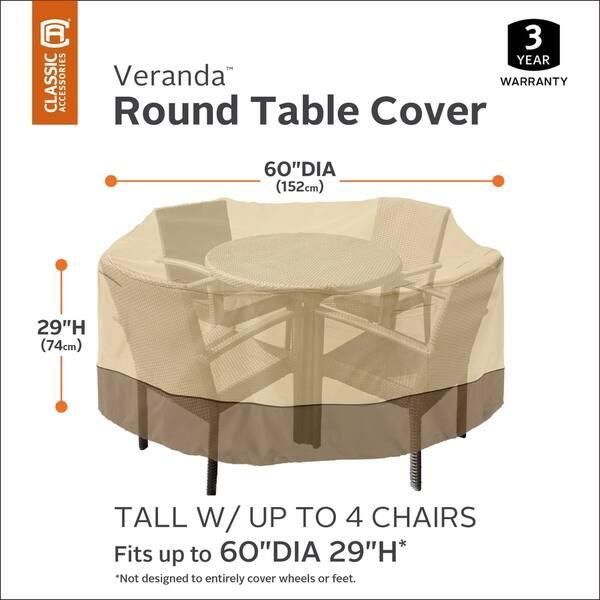 Classic Accessories Veranda Tall Round Patio Table Set Cover