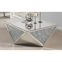 Best Quality Furniture Mirrored Crystal 2-Piece Coffee and End Table Set