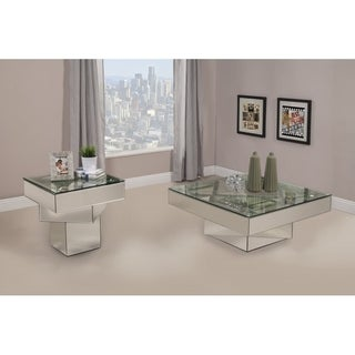 Best Quality Furniture Silvertone Wood/Glass Mirrored 2-piece Coffee and End Table Set