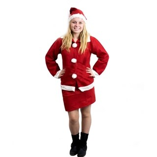 Mrs Santa Claus Christmas Costume Outfit Set with Skirt, Long Sleeve Shirt & Hat