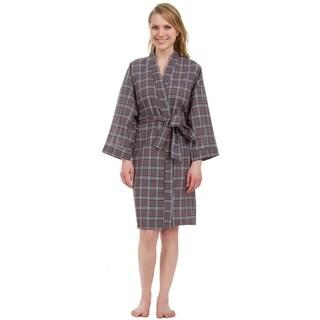 Leisureland Women's Knee Length Grey Plaid Robe