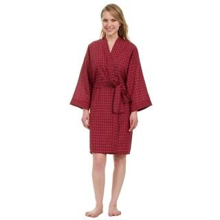 Leisureland Women's Knee Length Red Plaid Robe