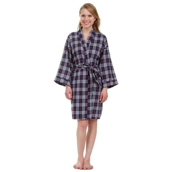 Leisureland Women's Knee Length Navy Plaid Robe