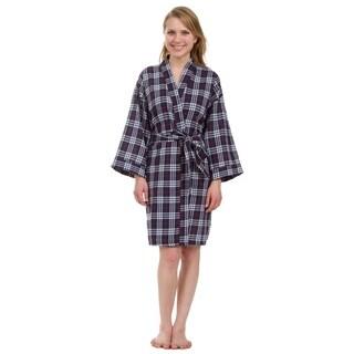 Leisureland Women's Knee Length Navy Plaid Robe