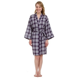 Leisureland Women's Knee Length Purple Plaid Robe