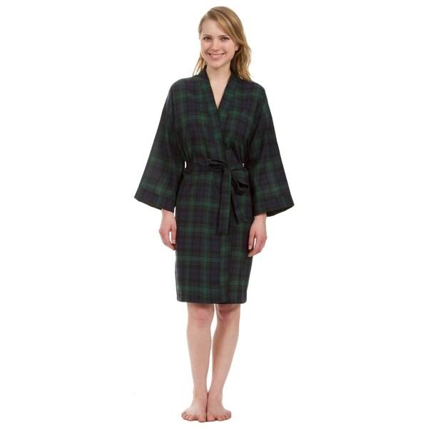 Leisureland Women's Knee Length Green Plaid Robe