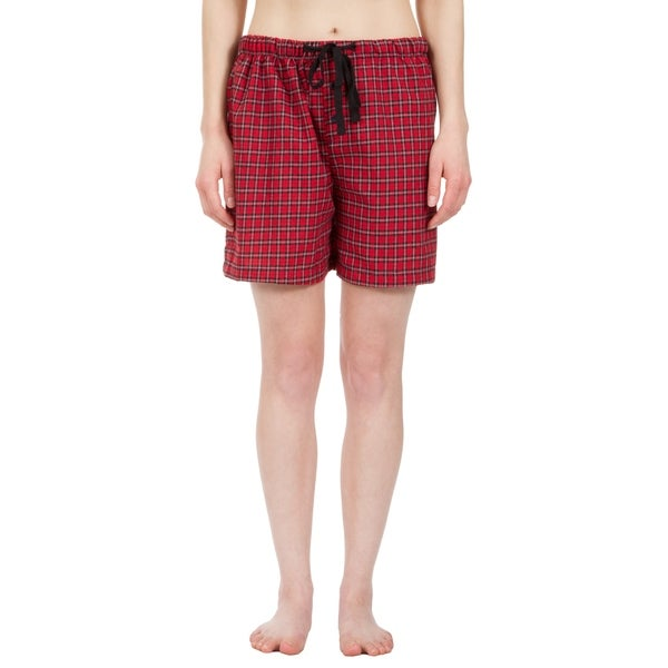 Leisureland Women's Red Plaid Lounge Pajama Boxer Shorts