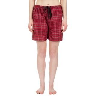 Leisureland Women's Red Plaid Lounge Pajama Boxer Shorts