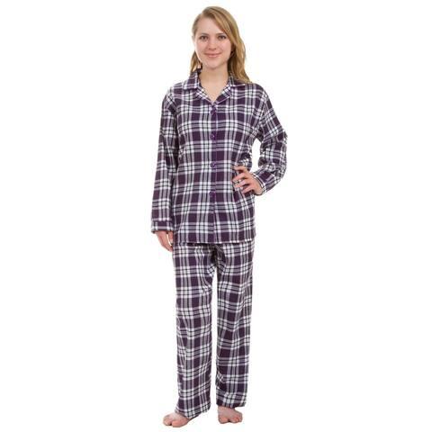 Leisureland Women's Purple Plaid Pajama Set