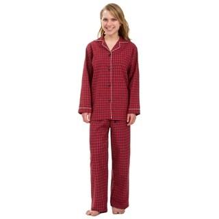 Leisureland Women's Red Plaid Pajama Set