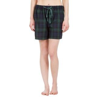 Leisureland Women's Green Plaid Lounge Pajama Boxer Shorts