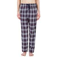 Leisureland Women's Navy Plaid Lounge Pajama Pants