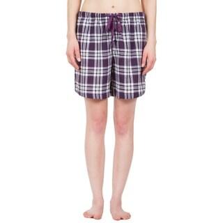 Leisureland Women's Purple Plaid Lounge Pajama Boxer Shorts