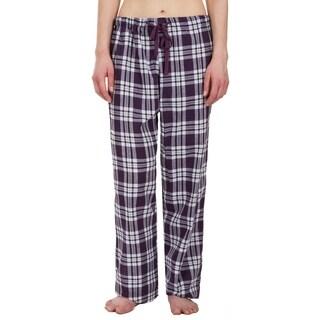 Leisureland Women's Purple Plaid Lounge Pajama Pants
