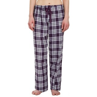 Leisureland Women's Purple Plaid Lounge Pajama Pants