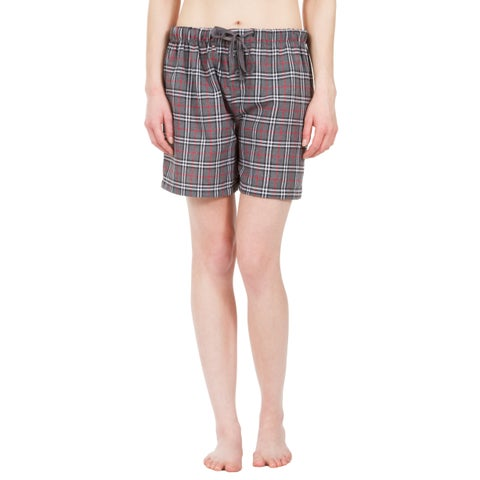 Leisureland Women's Grey Plaid Lounge Pajama Boxer Shorts