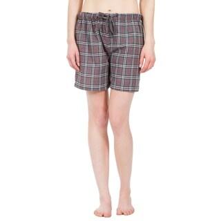 Leisureland Women's Grey Plaid Lounge Pajama Boxer Shorts