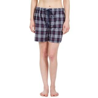 Leisureland Women's Navy Plaid Lounge Pajama Boxer Shorts