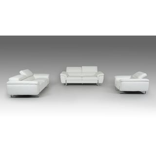 Artesia White Italian Genuine Leather 3-piece Living Room Set