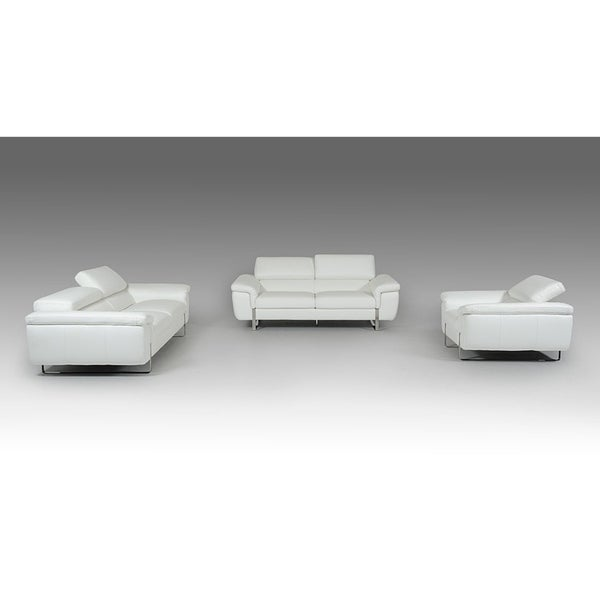 Shop Artesia White Italian Genuine Leather 3-piece Living Room Set ...