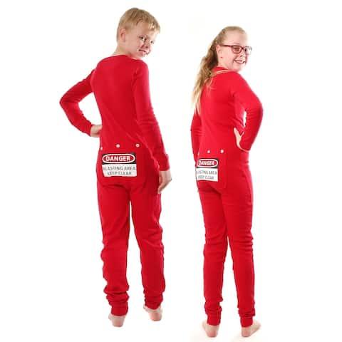 Red Union Suit Kids Pajamas DANGER BLAST AREA Sign on Rear Flap