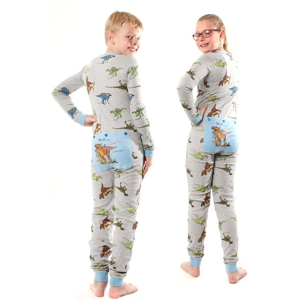 fda62097dd Dinosaur Union Suit Boys  amp  Girls one piece Pajamas T-Rex on Rear Flap