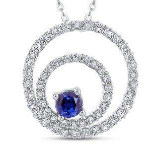 10K White Gold 5/8ct Diamond and 3/8ct Blue Sapphire Circle Pendant (G-H, I2-I3)