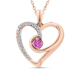 10K Rose Gold 1/5ct Diamond and 3/8ct Pink Sapphire Heart Pendant (G-H, I2-I3)