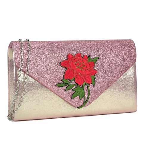 Dasein Velvety Frosted Evening Clutch with Flower Patch Design