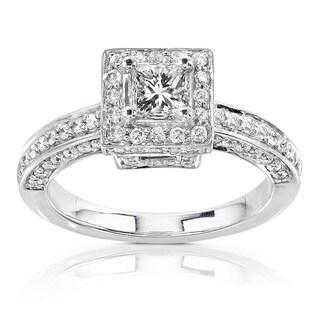 Annello by Kobelli 14k Gold 1ct TDW Diamond Princess Halo Engagement Ring