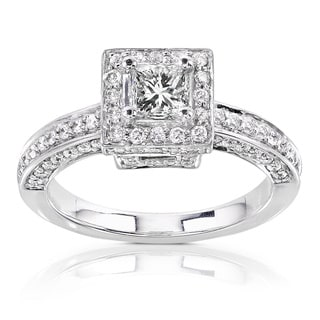 Annello by Kobelli 14k Gold 1ct TDW Diamond Princess Halo Engagement Ring (H-I, I1-I2)