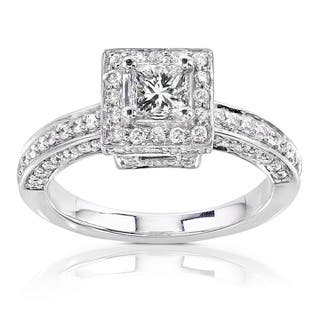 Annello by Kobelli 14k Gold 1ct TDW Diamond Princess Halo Engagement Ring|https://ak1.ostkcdn.com/images/products/1856191/P10188289.jpg?impolicy=medium