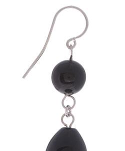Glitzy Rocks Sterling Silver Black Onyx Bead Earrings