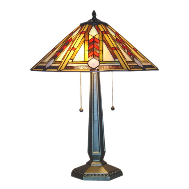 1908 Studios Tiffany-style Geo Hex Mission Table Lamp, Ye...