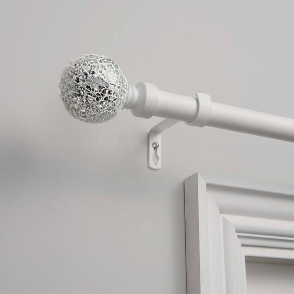 Exclusive Home Curtains Mosaic Double Curtain Rod and Finial Set Matte White 36-72