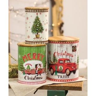 Vintage Christmas Canisters, 3/set