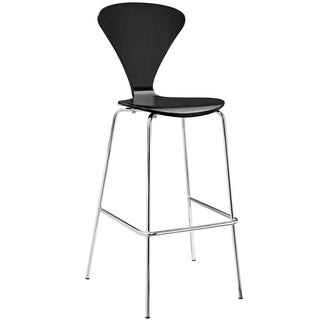 modway ernie wood and chrome dining bar stool