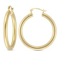 10K Yellow Gold Round Tube Earrings with Crystal Accent