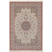 eCarpetGallery Persian Collection Mashad Ivory Power-loomed Rug - 6'7 x 9'10