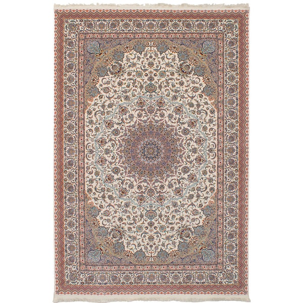 eCarpetGallery Persian Collection Mashad Ivory Power-loomed Rug (6'7 x 9'10) - 6' x 9'