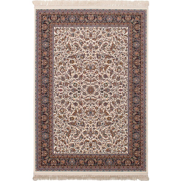eCarpetGallery Persian Robot Woven Collection Mashad Power-loomed Ivory/Multicolored Rug (6'7 x 9'10) - 6' x 9'